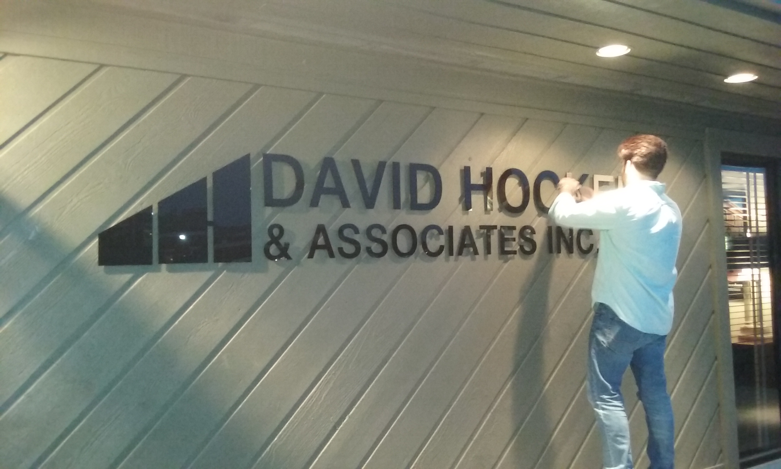 We finished this lettering for david hocker associates inc last week